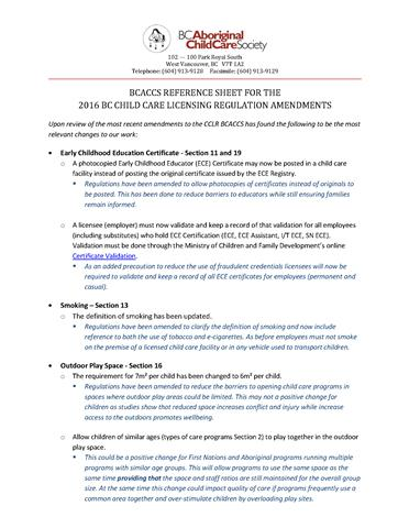 bcaccs reference sheet for the 2016 bc child care licensing